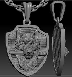 wolf knife pendant 3D