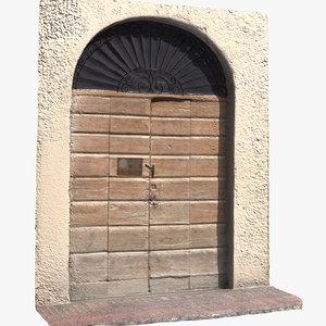 3D model door wooden old scan