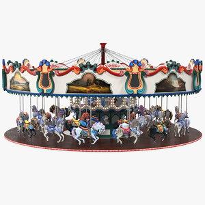 3D amusement park carousel