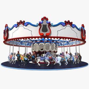 3D park carousel horses