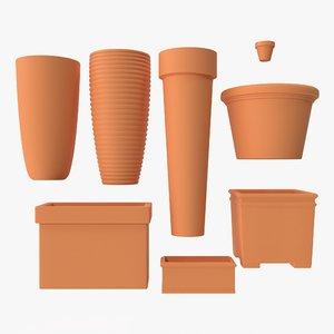 terra cotta planters 3D model