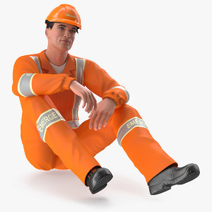 rescuer sitting pose rescue 3D model