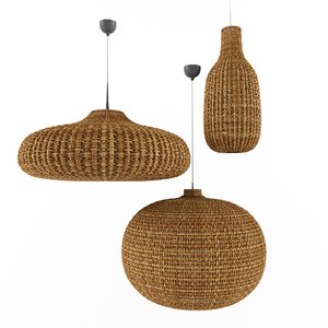 3D lamp wicker natural