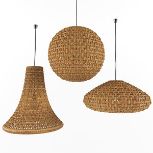 wicker rattan hanging lamp 3D