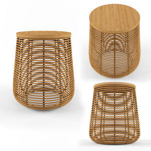 rattan natural table hazel 3D model