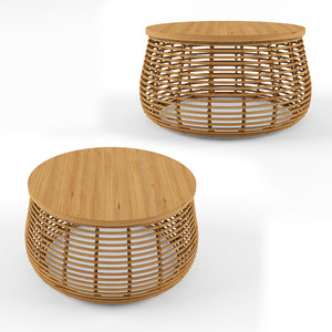 rattan natural coffee table 3D model