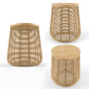 3D rattan bamboo natural table