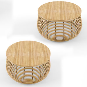 3D rattan bamboo natural coffee table
