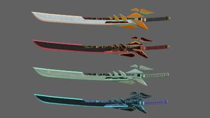 3D model low-poly futuristic swords modeled
