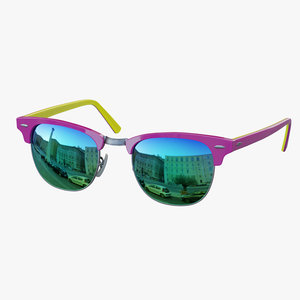 3D sunglasses classic style purple-yellow model