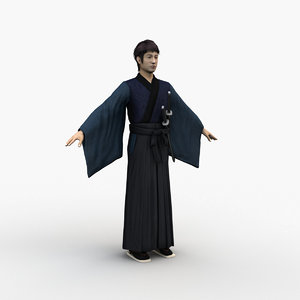 3D japanese samurai 0001 model