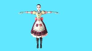 cartoon girl rigged 3D