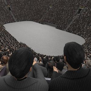 3D stadium corwd 50s stands