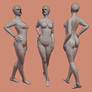 3D rigged female base mesh model
