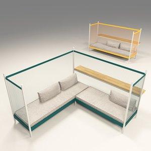 established sons grid sofa 3D
