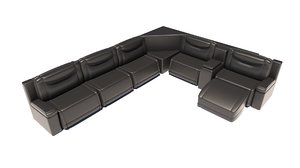 3D large black leather sofa