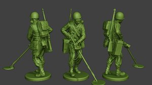 american soldier ww2 engineer 3D model