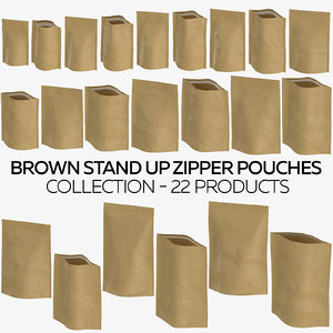 brown stand zipper pouches 3D model