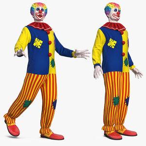 3D clown costume rigged model