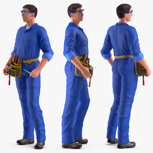 3D electrician rigged electric modo model