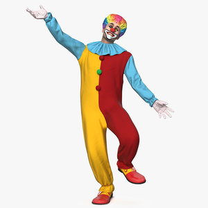 men clown suit rigged 3D