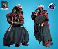Armored Male Ninja Undead Samurai Low-poly model