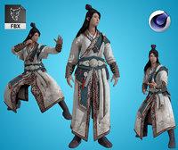 Armored Male Ninja Undead Samurai Low-poly 3D
