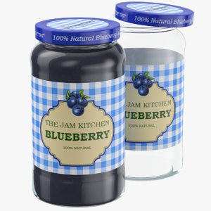 blueberry jam glass jar 3D