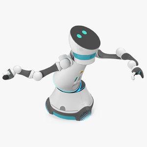3D model modular service robot rigged