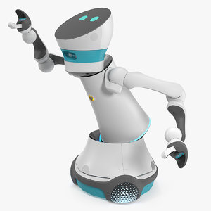 modular service robot rigged model