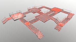 3D ground stair set model