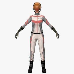 3D space biker girl