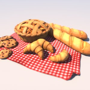 3D cartoon pastries model