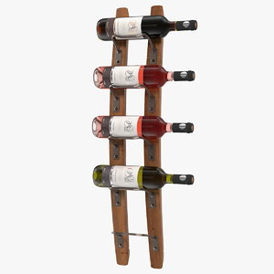 wooden mounted vertical rack 3D model