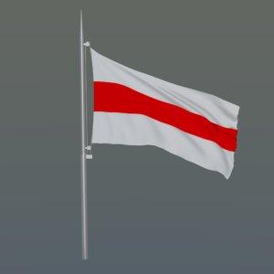 3D flag s belarus flagpole