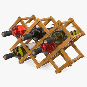 foldable wooden rack wine bottles 3D model