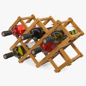 foldable wooden rack wine bottles 3D model