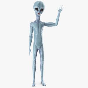3D space alien greetings pose
