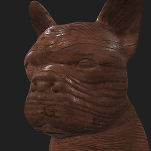 rigged dog sits place 3D