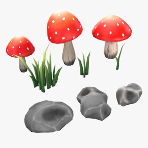 hand painted nature assets 3D model