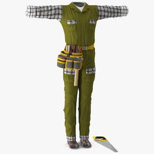 3D carpenter clothes model