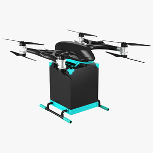 3D model quadcopter drone delivery package
