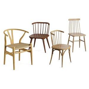 3D 4 wooden chair