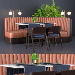 orange restaurant table 3D