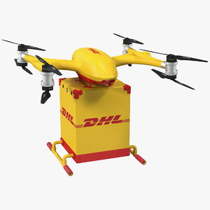 3D quadcopter dhl drone delivery model
