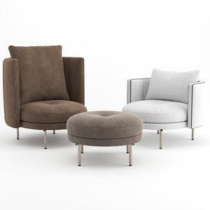 3D armchairs footstool ottoman model
