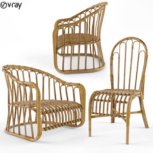 natural bamboo chair 3D