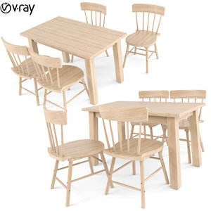 3D tables chairs 4 seats