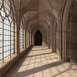 3D gothic corridor