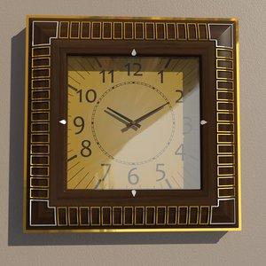 3D model square wall clock
